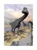Brachiosaurus Dinosaurs Near Water with Reflection by Sunset and Full Moon Prints