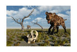 A Sabre Tooth Tiger Discovers a Humanoid Skull Art