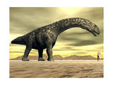 Large Argentinosaurus Dinosaur Face to Face with a Human Posters