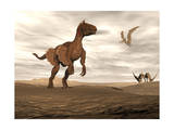 Velociraptor Dinosaur in Desert Landscape with Two Pteranodon Birds Prints