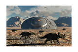 A Herd of Dinosaurs Walk Past a Flying Saucer Lodged into the Ground Poster