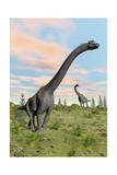 Two Brachiosaurus Dinosaurs in a Prehistoric Environment Art