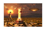 An Alien Returning to the Famous Crash Site in Roswell, New Mexico Prints