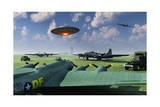 An Alien Ufo Flying Low over an American Airbase Posters