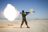 An Afghan National Army Soldier Fires a Rpg-7 Photographic Print