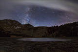 Star Trails and the Blurred Band of the Milky Way Above a Lake in the Eastern Sierra Nevada Photographic Print