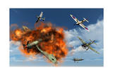 A Royal Air Force Supermarine Spitfire Attacking German Stuka Dive Bombers Prints