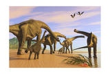 A Brachiosaurus Herd Walks Down a Wet Sandy Beach Prints