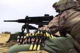 A U.S. Marine Fires an M2 .50 Caliber Machine Gun Photographic Print