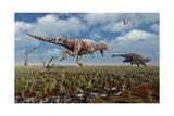 A Tyrannosaurus Rex Giving Chase to an Ankylosaurus Print