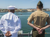 A Sailor and Marine Man the Rails Aboard USS Boxer Photographic Print