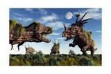 Styracosaurus and Tyrannosaurus Rex Dinosaur Sculptures Posters