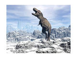 Tyrannosaurus Rex Dinosaur in a Snowy Landscape Posters