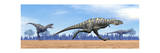 Three Aucasaurus Dinosaurs Running in the Desert Posters
