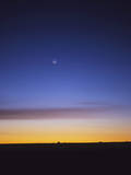Pre-Dawn Sky with Waning Crescent Moon, Jupiter at Top, and Mercury at Lower Center Photographic Print