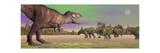 Tyrannosaurus Attacking Styracosaurus Dinosaurs Prints