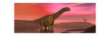 Argentinosaurus Dinosaurs Amongst a Colorful Red Sunset Prints
