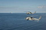 Mh-60R Sea Hawk Helicopters Launch Agm-114 Hellfire Missiles Photographic Print