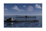 A Wolfpack of German U-Boat Submarines - Reprodüksiyon