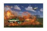 P-51 Mustang Planes Attacking a German Me 262 Jetfighter Airfield Posters