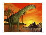 Large Argentinosaurus Dinosaur in Water at Sunset Print