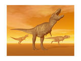 Tyrannosaurus Rex Dinosaurs in an Orange Foggy Desert by Sunset Poster