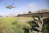 U.S. Army Soldiers Secure a Landing Zone for Afghan Air Force Mi-17'S Photographic Print