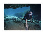 A Scuba Diver Explores the Blue Springs Cave in Marianna, Florida Prints