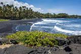 Punaluu Black Sand Beach on Big Island, Hawaii, United States of America, Pacific Photographic Print by Michael Runkel