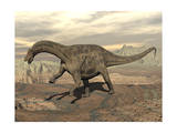 Large Dicraeosaurus Dinosaur Walking on Rocky Terrain Prints