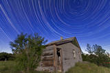 Circumpolar Star Trails Above an Old Farmhouse in Alberta, Canada Photographic Print