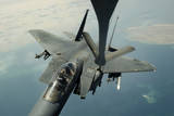 An F-15E Strike Eagle Receives Fuel from a Kc-135R Stratotanker Photographic Print