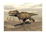 Tyrannosaurus Rex Dinosaur Running across Rocky Terrain Art