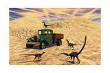 Velociraptors React Curiously to a 1930's American Pickup Truck Prints
