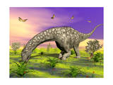 Argentinosaurus Eating Plants While Surrounded by Butterflies and Flowers Prints