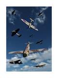 A Supermarine Spitfire Attacking a Messerschmitt Bf 109 Prints