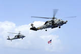 An Mh-60S Sea Hawk Helicopter Follows Behind an Mh-60R Sea Hawk Photographic Print