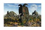 Albertaceratops Dinosaurs Grazing Art
