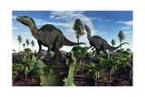 A Pair of Herbivorous Camptosaurus Dinosaurs Prints