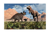 Prehistoric Battle Between a Triceratops and Tyrannosaurus Rex Posters
