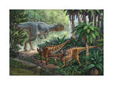 Two Gigantspinosaurus Fearful at the Sight of a Large Yangchuanosaurus. Posters