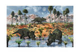 Centrosaurus Dinosaurs at a Watering Place Prints