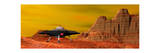 Ufo Landing on a Desert Landscape Prints