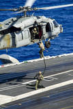Sailors Conduct a Fast-Rope Exercise from an Mh-60S Sea Hawk Photographic Print