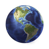 3D Rendering of Planet Earth, Centered on North America and South America Premium Giclee Print