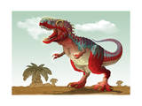 Colorful Illustration of an Angry Tyrannosaurus Rex Poster
