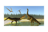 A Kaprosuchus Reptile Confronts an Agustinia Dinosaur Plakaty