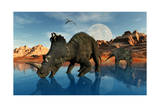 Centrosaurus Dinosaurs Grazing at a Watering Place Art
