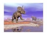 Two Nedoceratops Next to Water in a Colorful Rocky Landscape Prints