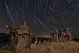 Star Trails and Intricate Sand Tufa Formations at Mono Lake, California Photographic Print